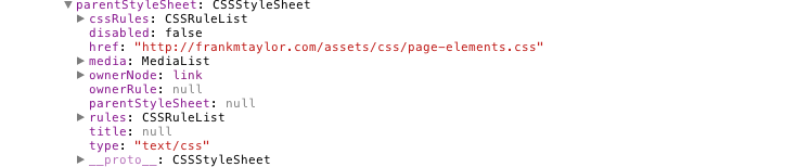 parentStyleSheet is another CSSStyleSheet object