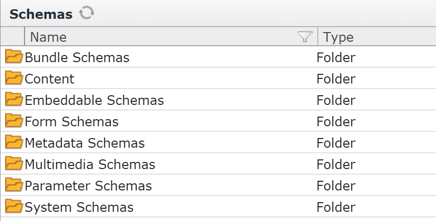 The form schemas folder contains content, embeddable, and multimedia schemas.